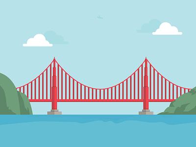 Golden Gate Bridge san francisco bridge gate golden sf illustration
