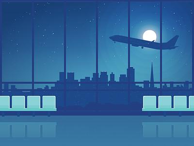 Empty Terminal moon takeoff airplane terminal airport skyline night illustration