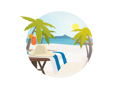 Tropical Getaway sunny palm trees cocktail beach tropical illustration