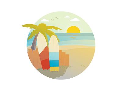 Hang Loose, Brah shaka hang loose sunset sunny palm trees surf board relaxing chill beach tropical summer illustration