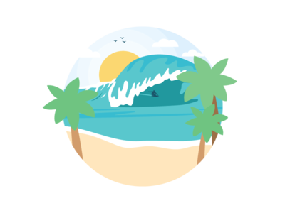 Surfin' waves tropical surf board sunny summer relaxing palm trees illustration hang loose chill beach
