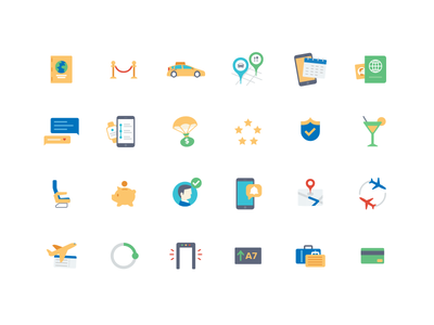 Travel App Icons taxi passport lounge alert map ticket security briefcase credit card icon set travel