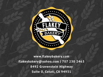 Postcard + logo made for Flakey Bakery