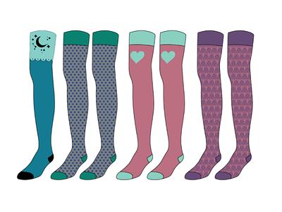 thigh-highs sock designs illustration design vector