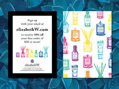elizabethW in store post card typography branding design vector post card