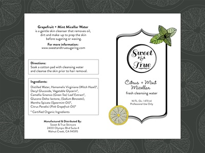 Citrus Mint Micellar beauty label illustration typography branding design vector