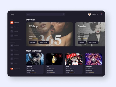 Cinema Dashboard (Dark Mode) by dsgnrr popular trending uxui web nightmode dashboard webdesign ux ui