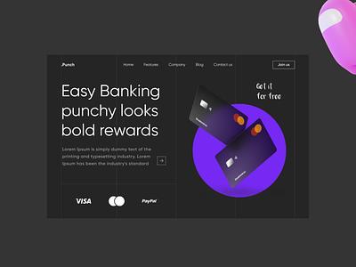 """Banking landing page Dark Mode """"minimalism"""" clean popular darkmode landingpage webdesign uiux ui ux"""