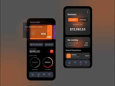 Online Payment App Dark Mode Concept clean comment follow like design glassmorphism darkmode app popular webdesign ux ui