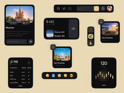 "Dark UI Components ""Simple)"" components ui8 cuberto minimalism design darkmode clean app popular webdesign ux ui"