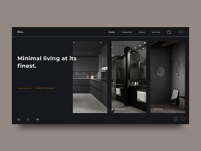 "Furniture Online Shop ""DARK"" Web Site Concept figmadesigner yandex ui8 cuberto darksite website uxui design darkmode clean popular webdesign ux ui"