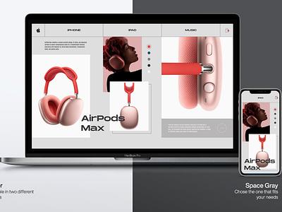 "Air Pods Max ""Minimalism""  Web Site Concept bestdesign top figmadesigner usa ui8 cuberto airpodsmax apple minimalism design darkmode clean popular webdesign ux ui"
