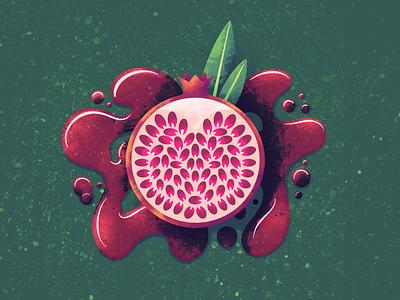 Pomegranate illustrator texture leaf illustration procreate juice fruit pomegranate pom