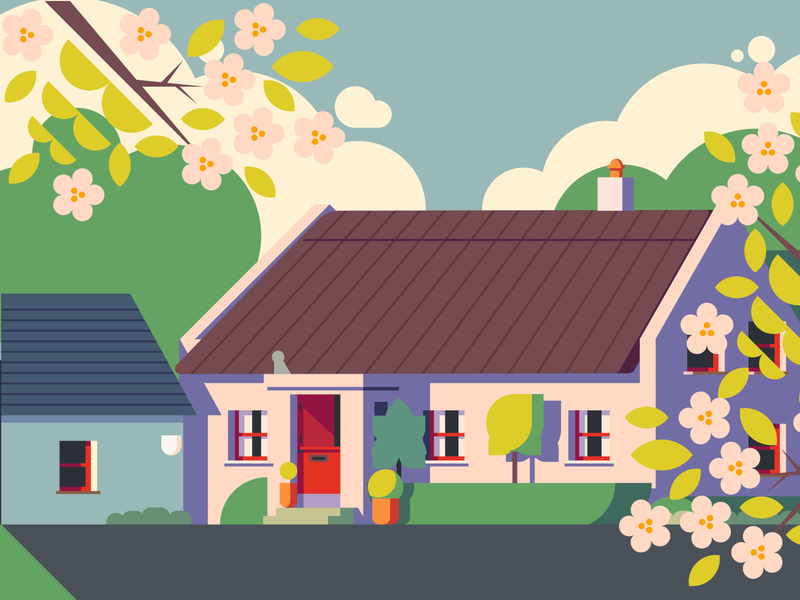 Irish Cottage - WIP adobe illustrator vector illustration building illustration architecture building thatched roof ireland irish cottage