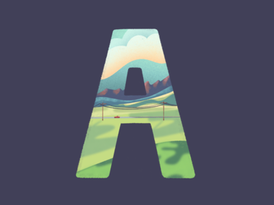 A: 36 Days of Type 2020 clouds mountains truck fields valley procreate illustration landscape typography type 36 days of type a