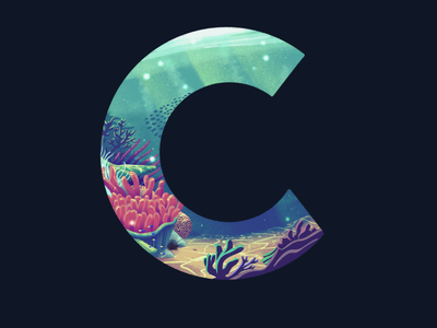 C: 36 Days of Type 2020 fish water environment 36 days of type c illustration typography lettering type sea ocean coral tropical reef underwater