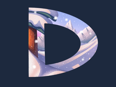 D: 36 Days of Type snowy environment illustration typography type lettering procreate mountains winter snow tree pine 36 days of type