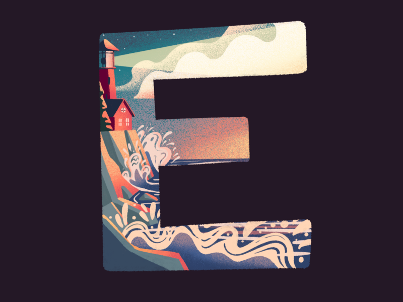 E: 36 Days of Type procreate typography type illustration sunset waves cliff ocean lighthouse lettering 36 days of type e