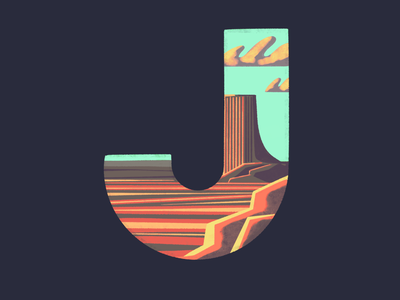 J: 36 Days of Type landscape background environment illustration procreate 36 days of type red rock plateau desert