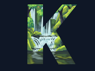 K: 36 Days of Type 36 days of type water reflection environment landscape procreate illustration river stones moss forest waterfall k