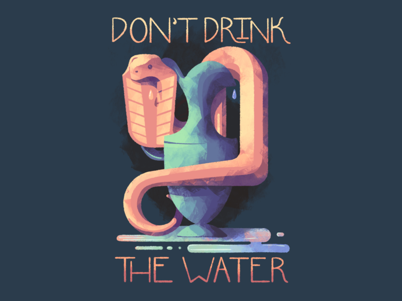 Don't Drink the Water texture vase reptile poison illustration procreate snake water cobra