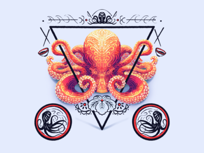 Octopus mark japanese cephalopod tentacles texture procreate illustration octopus