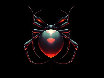 Black Widow Spider airbrush procreate illustration arachnid widow black spider black widow