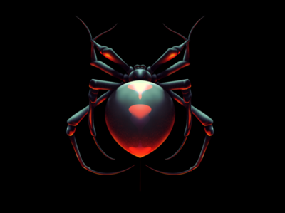 Black Widow Spider airbrush procreate illustration arachnid widow black spider black widow