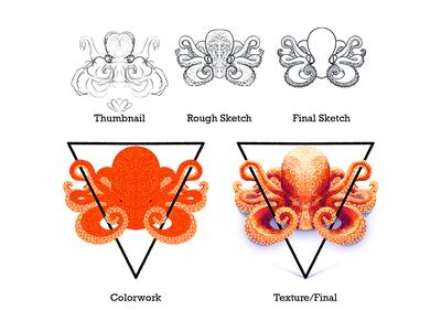 Illustration Process colorful texture illustrator sea creature artwork educational education octopus procreate illustration process