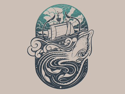 Kraken underwater waves giant squid artwork illustration ship ocean sea kraken
