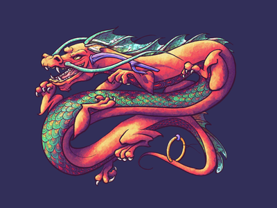Dragon - Collab with David Soto illustrations texture dragonscales mythical creature legend mythical claws dragons colorful procreate illustration dragon