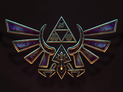 Hylian Crest (Legend of Zelda fan art) artwork crest badge triforce procreate illustration video games nintendo link zelda hylian legend of zelda