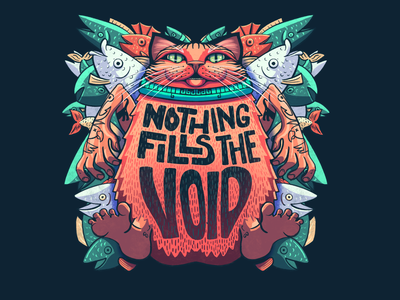 *slaps tum* This Bad Boi Can Fit So Much Void. artwork illustrator illustraion procreate nothing void fish kitty cat thicc chonk hefty