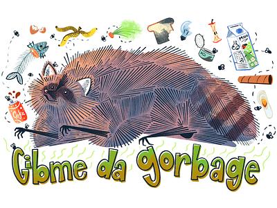 Gibme Da Gorbage illustrator illustrations illustration artwork art procreate recycling trash panda raccoon dumpster trash can can bin rubbish trash garbage