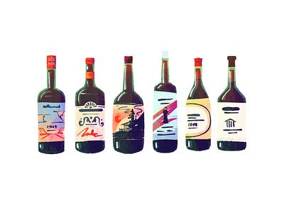 Which Wine Bottle Do You Buy? brand design brand branding liquor drink wines package design illustration label design bottles bottle grape wine