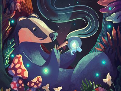 The Weed Badger moon fireflies magical wood forest badger weed marijuana procreate texture illustration