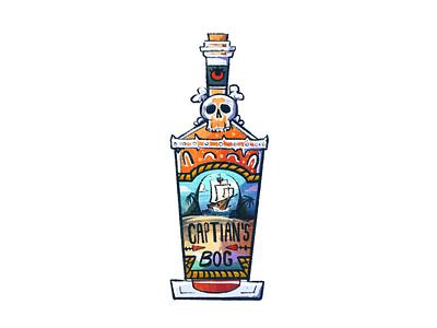 Captain's Bog Bottle Design skull glass illustrator procreate illustration packaging tropical ship pirate drink label alcohol liquor bottle