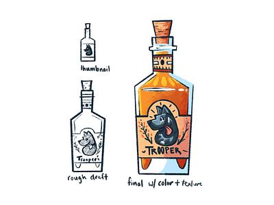 Trooper Whiskey illustrations art process alcohol drink illustrator procreate illustration label design branding liquor bottle whiskey dog trooper