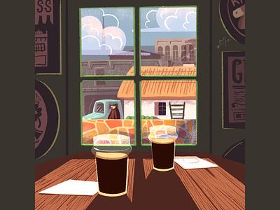 A Quiet Day illustrations procreate illustration pints pint alcohol window building irish ireland guinness bar pub