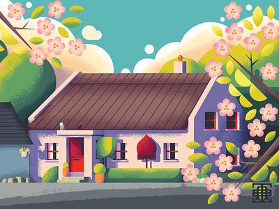 Irish Cottage retrosupply texture illustrators illustrations illustrator illustration architecture home trees flowers blossoms thatched cottage irish