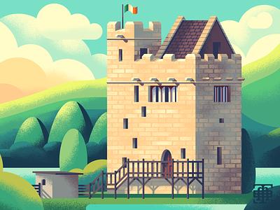 Irish Castle castles building illustrator illustrators illustrations retro supply retro supply co adobe illustration vector clouds tree trees architecture castle ireland irish
