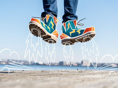 Rocket Shoes! (Zappos Unboxed Brand Illustrations) blast off smoke flames art on photos photograhy art zappos shoes rocket artworks artwork art illustrator illustrations illustration