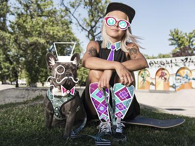 Dapper Duo (Zappos Unboxed Brand Illustrations) monicle top hat knee socks tie procreate artwork art illustrators illustrations illustrator illustration skateboarding puppy dog
