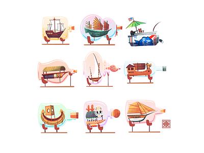 Inktober 2021: Vessel ships in bottles knick knack vessel inktober 2021 sail sails procreate illustrations illustration bottles bottle can sloop junk chalupa ship boats boat