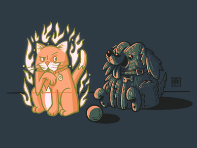 Inktober 2021: Spirit illustrator illustration artist artwork inktober cute puppy doggy doggo dog spooky 9 lives kitten kitty cat ghost spirit