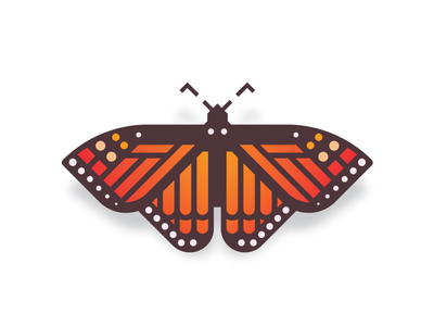 Monarch (28/365) wings moth flutterby logo icon design series daily design butterflies orange insect monarch butterfly