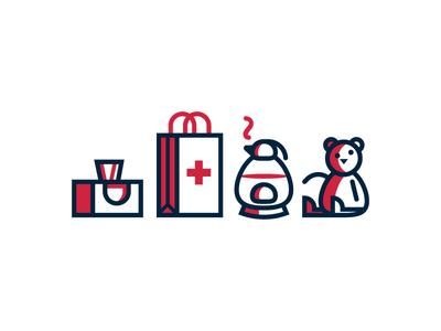 Home Medicine Icons (38/365) design series daily design icon icon set tissue kleenix tea kettle teddy bear sick health medicine