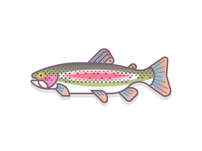 Rainbow Trout (47/365) colorful gradients pond river design series daily design fishy fishes fish trout rainbow trout rainbow