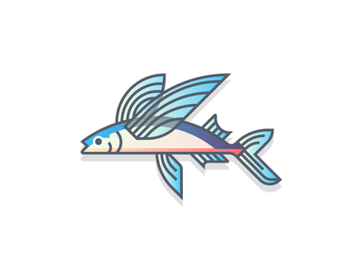 Flyingfish (56/365) fishy design series daily design wings ocean water gradients colorful flying flyingfish fishes fish