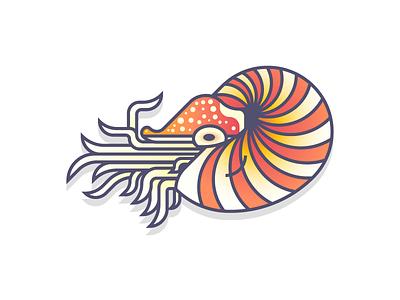 Nautilus (bonus) not a fish design series daily design deep sea ocean water gradients colorful tentacles nautili shell nautilus
